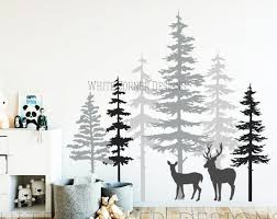3 Color Pine Tree Forest Wall Decals Tree Wall Decals Etsy Forest Wall Decals Tree Wall Decal Pine Tree Painting