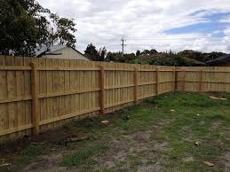 Paling Fence With Posts And Rails Rear View Fence Outdoor Structures Pale