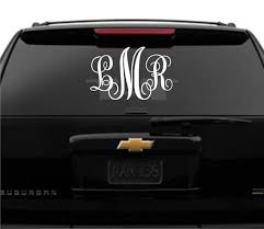 Large Monogram Car Decal Initials Car Monogram Decal Glitter Monogrammed Car Accessories For Guys