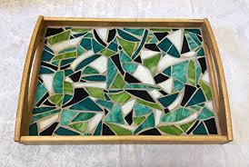 stained glass mosaic serving tray