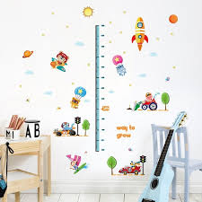 Rocket Height Wall Sticker For Kids Room Growth Chart Height Measure For Children Removable Pvc Posters Wish