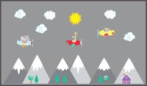 Mountain Wall Decals Landscape Scene Stickers Airplanes Clouds Nurserydecals4you