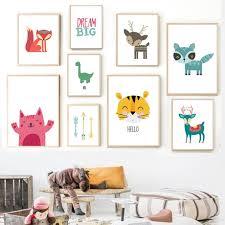 Cartoon Dinosaur Fox Deer Animal Art Prints Gallery Wall For Kids Bedroom Gallery Wallrus Free Worldwide Shipping