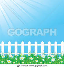 Vector Art Blue Sky With White Fence Eps Clipart Gg63357328 Gograph