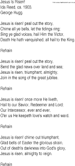 Hymn and Gospel Song Lyrics for Jesus Is Risen! by Ida Reed ca