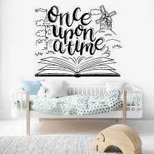 Once Upon A Time Wall Decal Library Kids Room Tale Book Vinyl Wall Stickers Living Room Classroom Decoration Bedroom Decor C998 Wall Stickers Aliexpress
