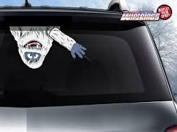 Abominable Snow Monster Yeti Waving Wipertag With Decal Attach To Rear Vehicle Wiper Wipertags