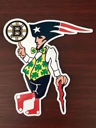 Amazon Com Boston Guy Sports Teams Patriots Celtics Red Sox Bruins Mash Up Laptop Ipad Car Window Vinyl Sticker Decal Buy 3 Get 1 Free Handmade
