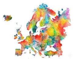 Europe Watercolor Map Abstract Art Wall Art Home Decor Etsy