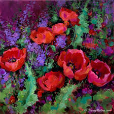 lilac garden red poppies