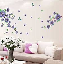 Ufengke Beautiful Purple Flowers Flying Birds Wall Decals Living Room Bedroom Removable Wall Decals Living Room Wall Stickers Living Room Wall Stickers Bedroom