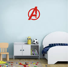 Wall Murals The Avengers Sign Logo Vinyl Wall Poster Kids Boys Room Decoration Superhero Pattern Avengers Wall Decals Az405 Wall Stickers Aliexpress