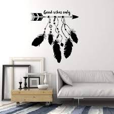 Vinyl Wall Decal Dreamcatcher Arrow Feathers Ethnic Art Good Vibes Sti Wallstickers4you