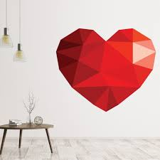 Red Geometric Heart Love Wall Decal Sticker Ws 46279 Ebay