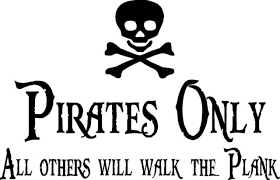 Pirates Only Vinyl Wall Art Decals Lettering Design Words Decor Bedroom 23 X14 For Sale Online