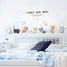 Cute Cat Wall Sticker Bedroom Accessorie Wall Painting Baby Room Wall Decoration Diy Kids Room Decoration Wallpaper Wall Art Wall Stickers Aliexpress