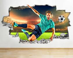 Wall Stickers Football Soccer Sports Boys Smashed Decal 3d Art Vinyl Room Aa530 Ebay