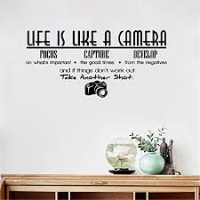Amazon Com Vinyl Wall Art Inspirational Quotes And Saying Home Decor Decal Sticker Wall Sticker Life Is Like A Camera Wall Sticker Quote Vinyl Room Wall Decal Home Letters Wallpaper Diy Sticker Home