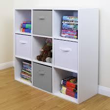 9 Cube Kids Grey White Toy Games Storage Unit Girls Boys Bedroom Shelves Boxes Ebay