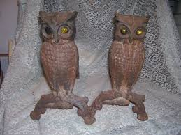 fireplace andirons owls with yellow