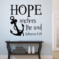 Nautical Christian Wall Decal Hope Anchors Soul Religious Decor