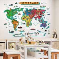 World Map Wall Stickers For Kids Rooms Home Decor Wall Room Stickers For Decoration Bedroom Decor Mural For Kids House Wall Stickers Aliexpress