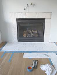 marble herringbone fireplace surround