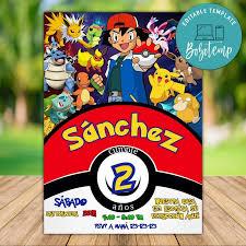 Invitacion De Cumpleanos De Pokemon Go Pikachu Para Imprimir