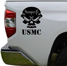 Amazon Com Inspired Us Marines Semper Fi Skull Die Cut Vinyl Decal Sticker For Car Truck Motorcycle Window Bumper Wall Decor Size 6 Inch 15 Cm Tall Color Matte White Arts Crafts Sewing