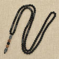 mens hematite carving bead necklace