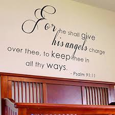 Wallplaza For He Shall Give His Angels Charge Over You Psalm 91 11 Decorations Inspirational Wall Art Sayings Vinyl Letters Stickers Decals 34x20 Black Wantitall