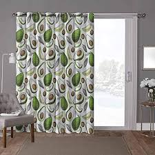 Amazon Com Yuazhoqi Sliding Patio Door Curtains Vegetables Organic Avocado Leaves W52 X L96 Inch Home Decor Modern For Kids Nursery 1 Panel Home Kitchen