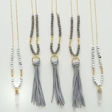 leather tassel necklace beaded long