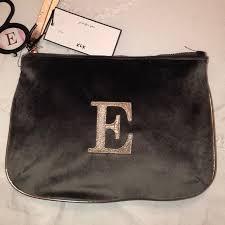 velvet initial e makeup bag