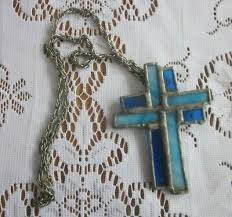 stained glass cross pendant with chain