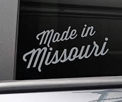 Amazon Com Nashville Decals Made In Missouri Vinyl Decal Laptop Car Truck Bumper Window Sticker 7 5 X 4 Charcoal Automotive