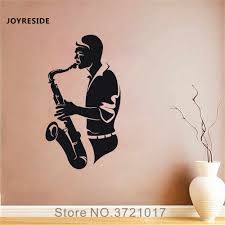 Joyreside Saxophonist Wall Music Decal Vinyl Sticker Home Interior Boys Teen Living Room Bedroom Decor Design Decoration A129 Wall Stickers Aliexpress