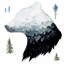 Foundry Select Watercolor Mountain Bear Peel And Stick Giant Wall Decals Wayfair