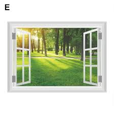 Shop 3d Window View Sunshine Tree Lawn Tree Road Wall Sticker Mural Art Decal Decor Online From Best Wall Stickers Murals On Jd Com Global Site Joybuy Com