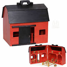 large toy wood red barn plete with