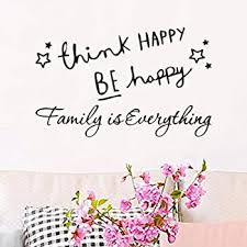 Amazon Com Wall Decals For Living Room Think Happy Be Happy Wall Stickers Family Is Everything Cartoon Cute Design Office Inspirational Front Door Decal Home Decor Motivational Quotes Letters Vinyl Tile Sticker Baby