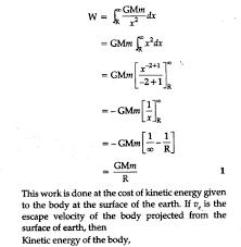 escape velocity cbse class 11 physics