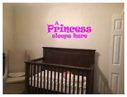 A Princess Sleeps Here Wall Decal Mural Art Sticker 22 X9 Bedroom Nursery Ebay