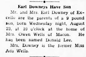 Ada Wells Downey has Donald Lee Downey at Owen Wells's house -  Newspapers.com