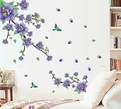 Amazon Com Bibitime Blooming Purple Flower Wall Decals Flying Bird Wall Decor Stickers Spring Wall Art Mural For Living Room Bedroom Nursery Kids Room Vinyl Decoration Home Kitchen