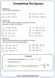 solving quadratic equations worksheets