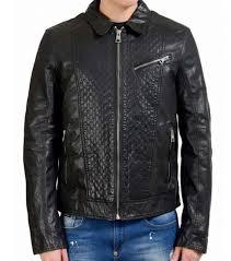 black full zip leather jacket for men
