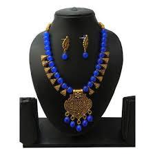 maitri blue glass bead pendant necklace