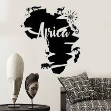 Vinyl Wall Decal Abstract Africa Continent Map African Animals Wall Stickers Home Decoration Living Room Office Classroom Y804 Wall Stickers Aliexpress