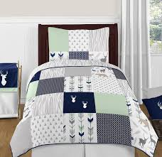 Amazon Com Sweet Jojo Designs Navy Blue Mint And Grey Woodsy Deer Boys 4 Piece Kids Childrens Twin Bedding Set Home Kitchen